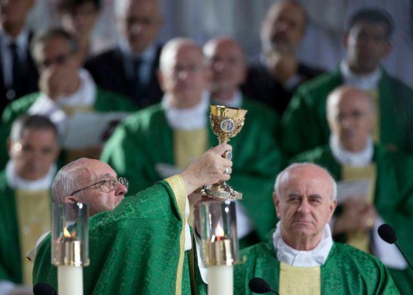 Pope Francis celebrates Mass on the Benjamin Franklin Parkway, Sunday, Sept. 27, 2015, in Philadelphia. (AP Photo/Alessandra Tarantino)